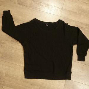 Torrid Black Sweatshirt With Lace on Shoulders